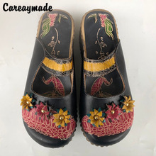 Hot,2016 Folk style Head layer cowhide pure handmade Carved shoes,The retro art mori girl shoes,Fashion Candy color slippers