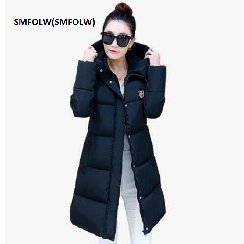SMFOLW(SMFOLW) 2017 New Fashion Thick Winter Down Jacket Women Slim Hooded Black Long Coats Parka For Student  Cotton Coat D8801 fashionable thick hooded pleated down coat for women