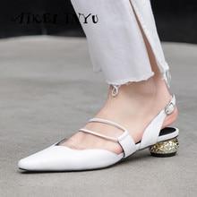 AIKELINYU Quality Soft Genuine Leather Low-heel Women Sandals Fashion Brand Women Strange Heel Shoes Summer Office Ladies Shoes цена в Москве и Питере