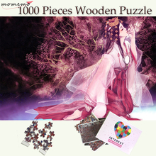 MOMEMO Sakura Girl Wooden Puzzles 1000 Pieces Adult Puzzle Cartoon Jigsaw for Children Teenagers Toys Gifts Decor