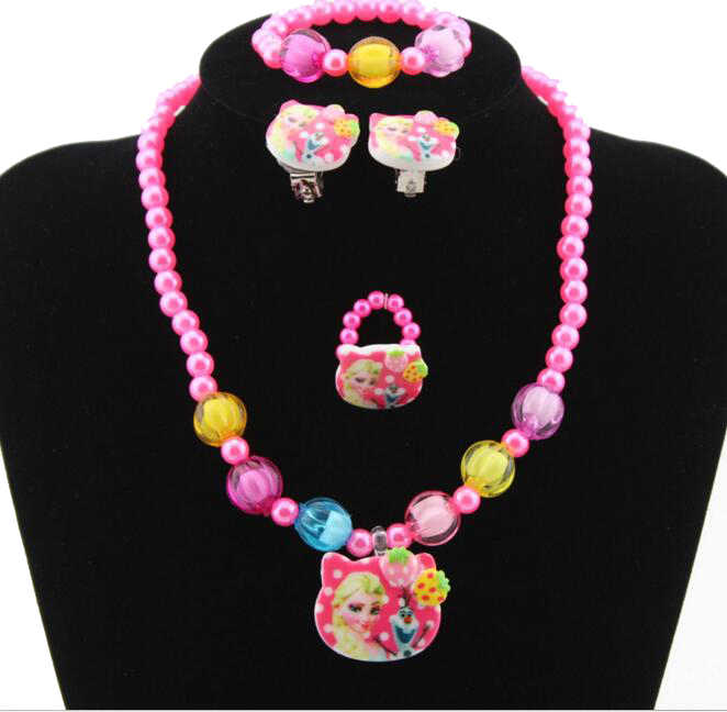 1set=4pcs Imitation Pearl classic Cartoon princess fairy Necklace/Bracelet/Ring/Earrings Children Kids Jewelry Set Xmas Gift