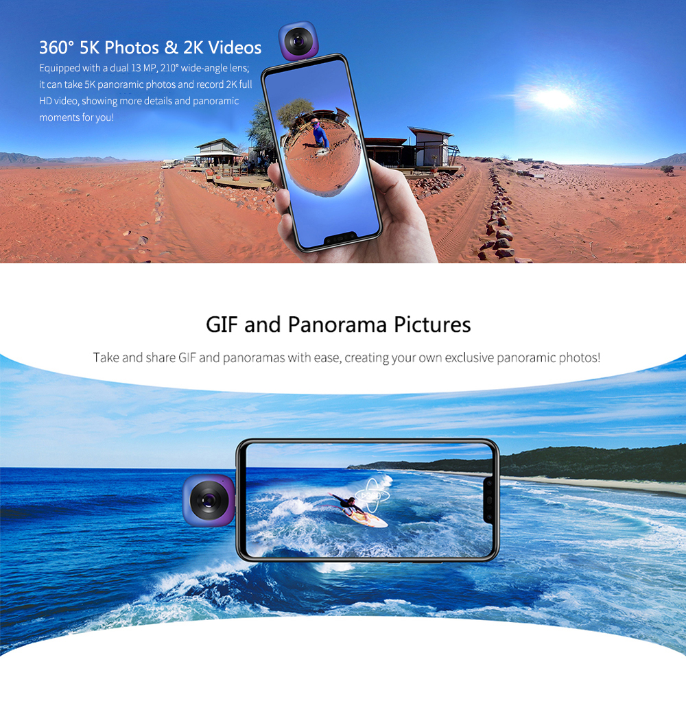 Image 4 - HUAWEI CV60 Cool Edition Panoramic 360 Camera 13MP 5K Photo 2K Full HD Videos Dual Fisheye Phone Camera Lens for Android 6.0-in 360° Video Camera from Consumer Electronics