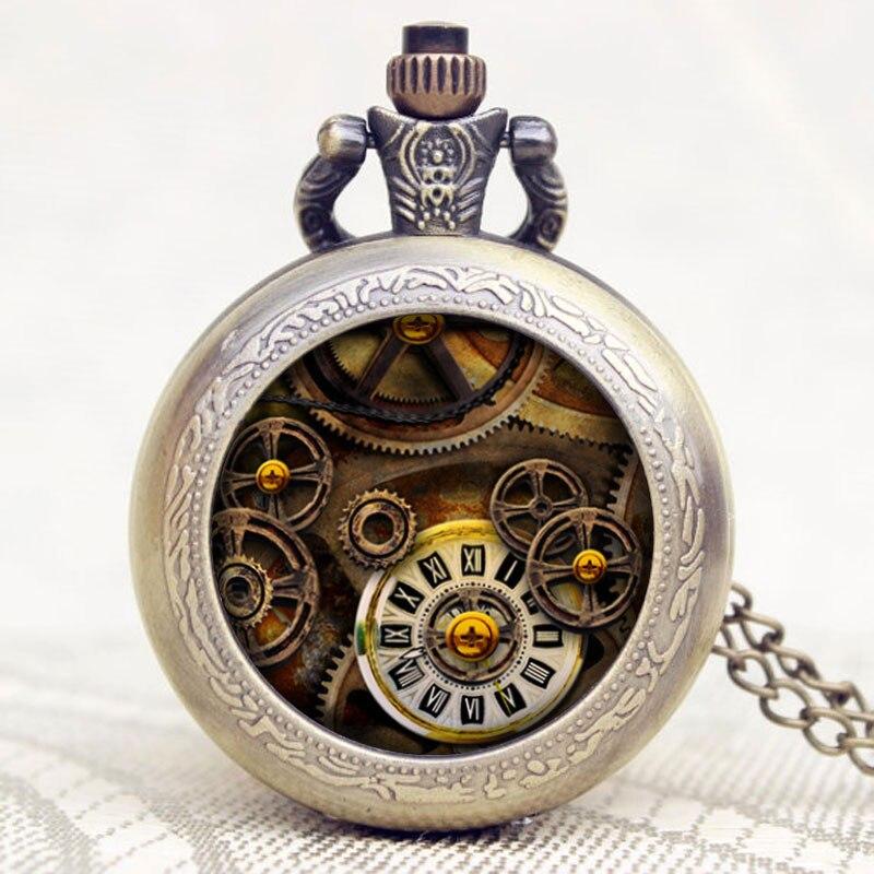 Купить с кэшбэком Antique Bronze Style Pendant Retro Gear Small Necklace Pocket Watch Quartz Steampunk Gift for Men Women Watches Gifts