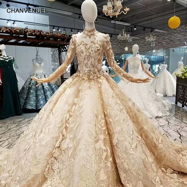 36853ef708cf5 Aliexpress.com : Buy LS66553 free shipping luxury dubai women occasion  dresses long sleeve high neck 3D flower golden ball gown muslim evening  dress ...