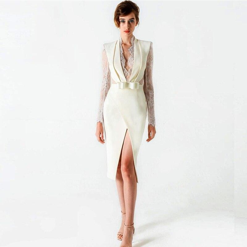 Nouveauté femmes robe blanche à manches longues en dentelle col en v profond mode robe partie ouverte fourche robe Top qualité robe de passerelle