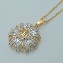 Zirconia Allah Necklaces Islamic Muhammad Jewelry Light Gold Color Middle East Muslim CZ Pendant Chain #014204