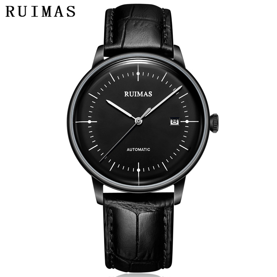 Men Simple Fashion Leather Strap Watch Business Japan Movt Automatic Mechanical Watches Male Clock New Wristwatches RUIMASMen Simple Fashion Leather Strap Watch Business Japan Movt Automatic Mechanical Watches Male Clock New Wristwatches RUIMAS