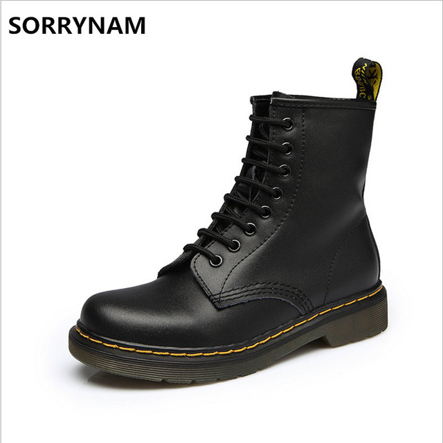 bb402b0a8aba 2017 Men Autumn Winter Plush British DR Martin boots Unisex Punk Ankle  Genuine Leather Motorcycle Boots Short Oxfords Snow Boot