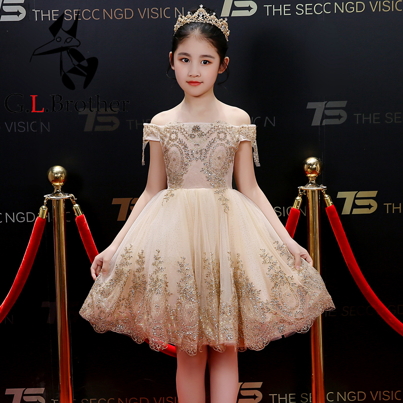 Gold Sequin Flower Girl Dresses Off The Shoulder Ball Gown Princess Prom Dress Bling Kids Pageant Dress For Birthday Party B240 цена 2017