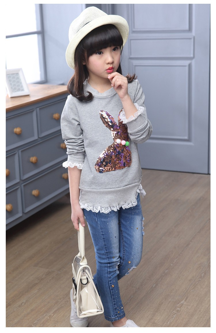 2016 new arrive sequined rebbit charatcer gray pink girls sweatshirt spring long sleeve kids clothes girls tops clothes 8 10 12 14 years girls clothing  6 7 8 9 10 11 12 13 14 15 16 children clothing (12)
