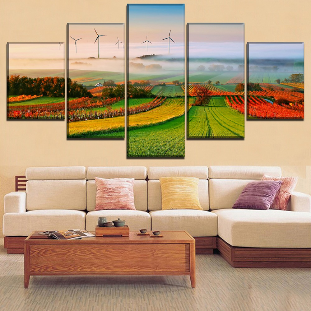 Canvas Paintings Wall Art Framework For Living Room Home Decor 5 Pieces Field Fog Nature Landscape Poster HD Prints Pictures