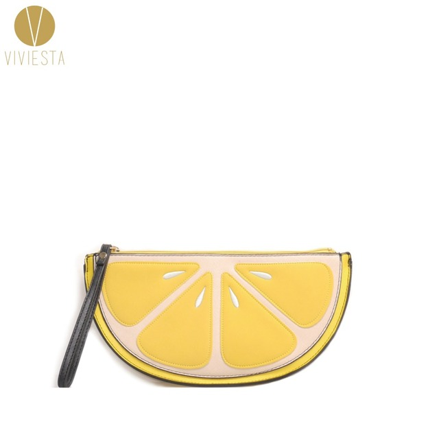 YELLOW LEMON NOVELTY CLUTCH BAG - Women's Japan Europe Street Fashion Style Cute Fun Citrus Wristlet Evening Bag Wallet Purse