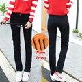Senhoras das mulheres de lã inverno jeans reta preto estiramento calças quentes de cintura alta jeans calças grossas plus size roupas femininas