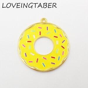 Image 3 - ( Choose Color First )  41mm 10pcs/lot Alloy Doughnut , Full Enamel Donut Pendants For Kids Jewelry Making
