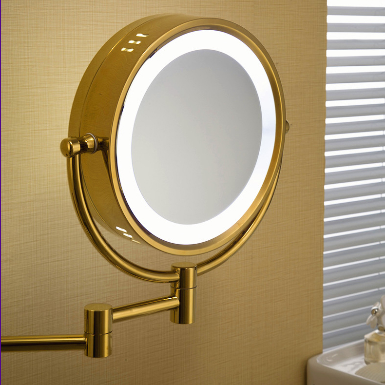 Aliexpress Buy High Quality 9 Brass 1x3X Magnifying Bathroom Wall Mounted Round Led Cosmetic Makeup Mirror With Lighting Bath 1558 From