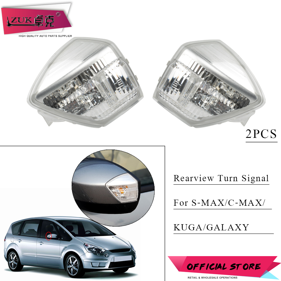 ZUK 2PCS Rearview Mirror Turn Signal Light Side Repeater Lamp For Ford S MAX Galaxy 2006