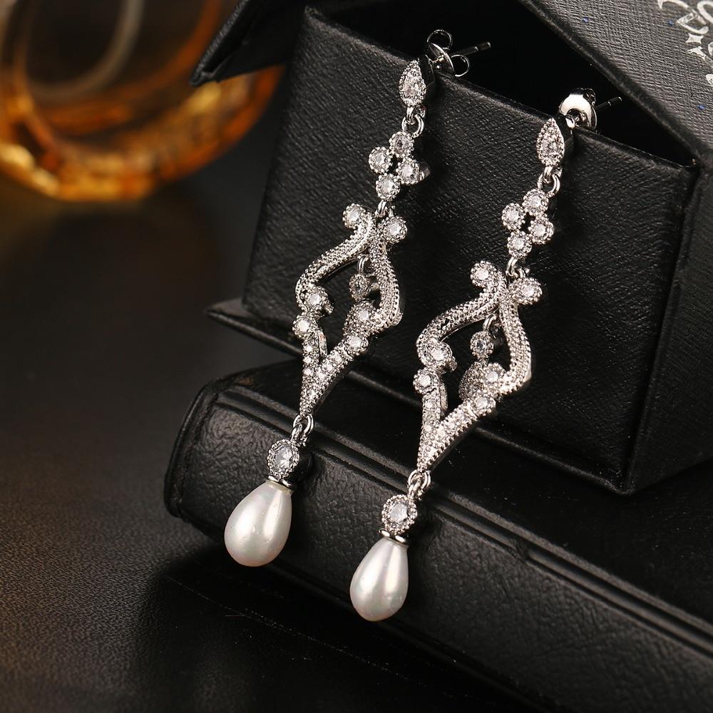 Emmaya Fashion Simulierte Perle CZ Braut Lange Ohrringe Schmuck Mode - Modeschmuck - Foto 3