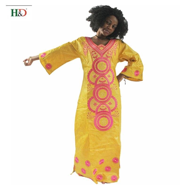 H&D modni vez Afrički ženska haljina Bazin Riche 100% pamuk dugi - Nacionalna odjeća - Foto 4