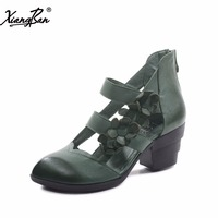 Genuine Leather High Heeled Woman S Sandal Shoe Vintage Woman Shoes Thick With Pointed Toe Flower