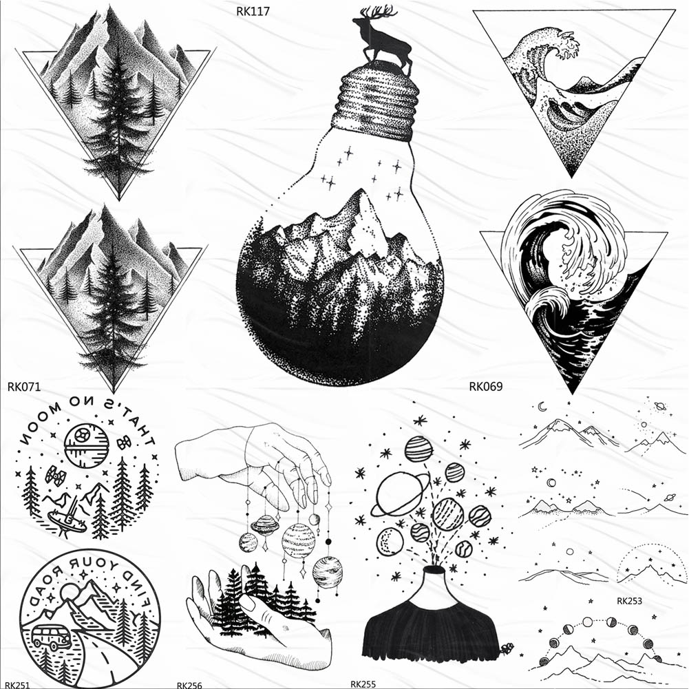 OMMGO Bulb Glass Mountain Pine Tree Temporary Tattoos Sticker Triangle Wave Custom Tattoo Body Art Arm Black Small Fake Tatoos