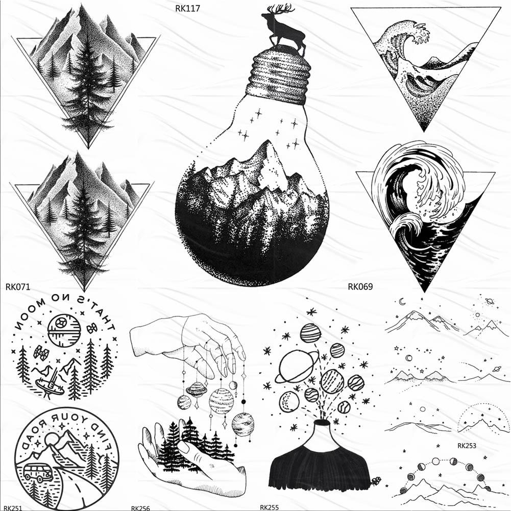 OMMGO Bulb Glass Mountain Pine Tree Temporary Tattoos Sticker Triangle Wave Custom Tattoo Body Art Arm Black Small Fake Tatoos