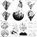 OMMGO Bulb Glass Mountain Pine Tree Временные татуировки, наклейка треугольной волны, индивидуальная татуировка, боди-арт на руку, черная Маленькая искусст...