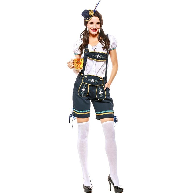OKTOBERFEST Red Or Blue Beer Girl German Barmaid Costume Womens Girls Lederhosen