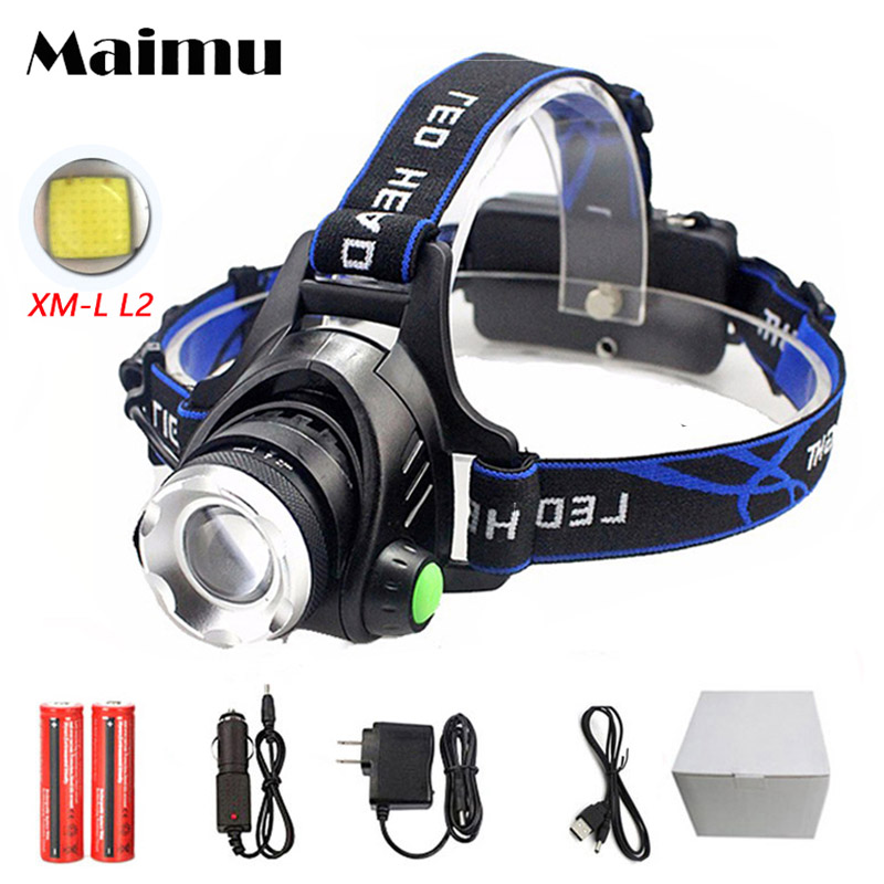 Maimu USB LED Headlamp 3800lm XML T6 Rechargeable 18650 Battery Zoom Headlight Head Torch Waterproof Lamp Fishing Hunting D11