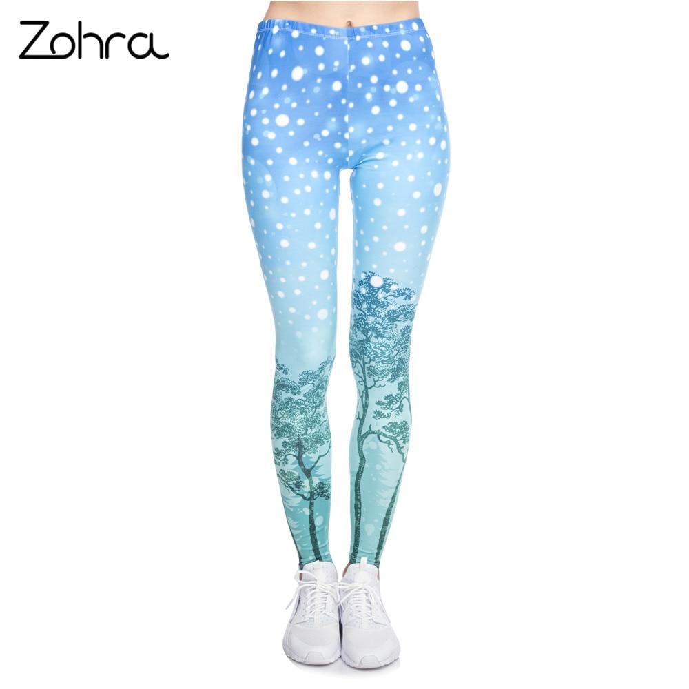Zohra Christmas Style Women Legging Aurora Winter Printing Fitness Leggings Fashion Cozy High Waist Woman Pants