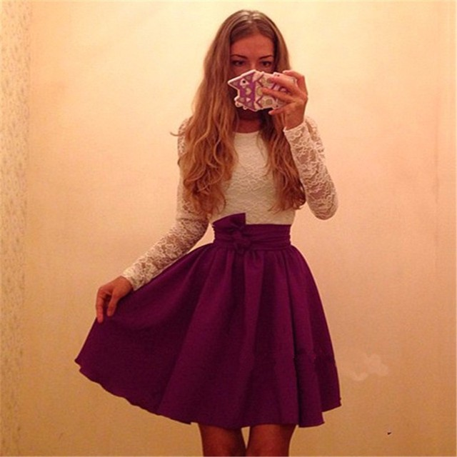 2016 الخريف النساء أزياء جديدة الدانتيل الأبيض المرقعة اللباس عارضة س الرقبة بأكمام طويلة فساتين حزب اللباس الأحمر الأخضر رداء vestidos
