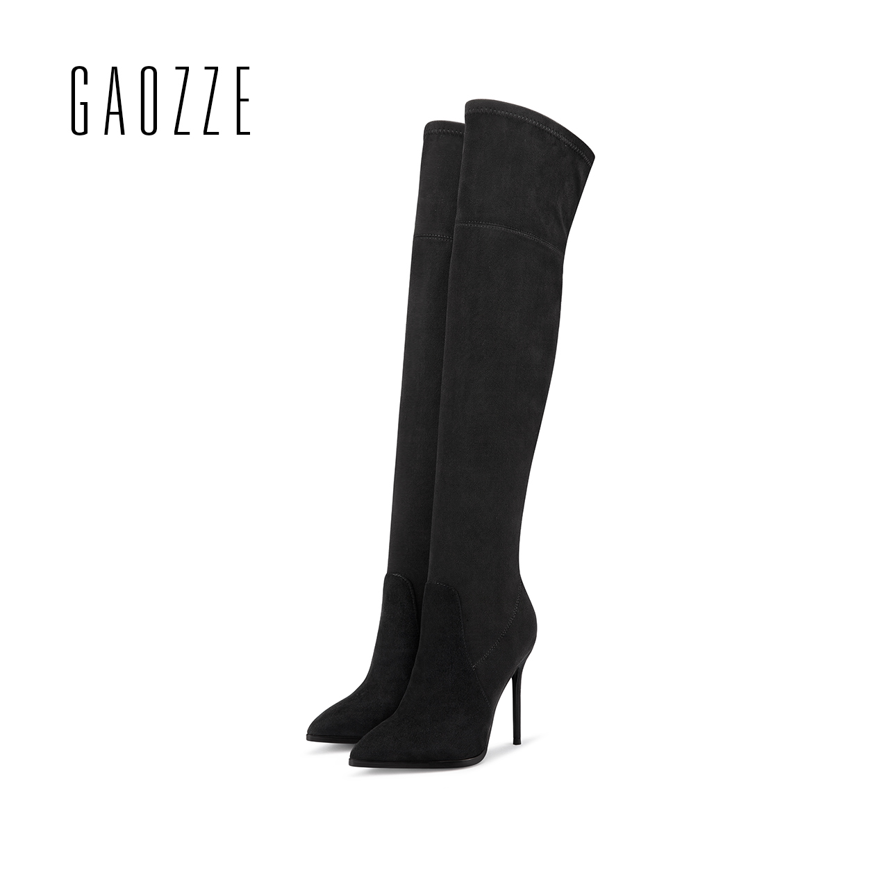 GAOZZE women sexy high-heeled over knee boots 2017 autumn new female fashion stretch fabric socks boots black women casual boots spring 2016 new arrive women fashion boots solid casual boots round waterproof high heeled women boots stretch stovepipe boots
