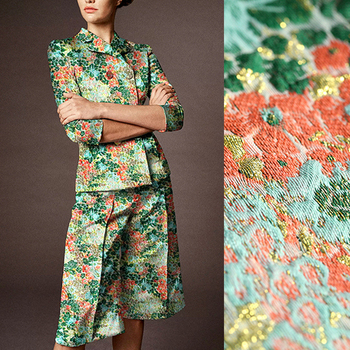 140CM Wide 300G/M Weight Green Red Jacquard Double-faced Acrylic Polyester Autumn Winter Dress Jacket Suit Fabric DE858