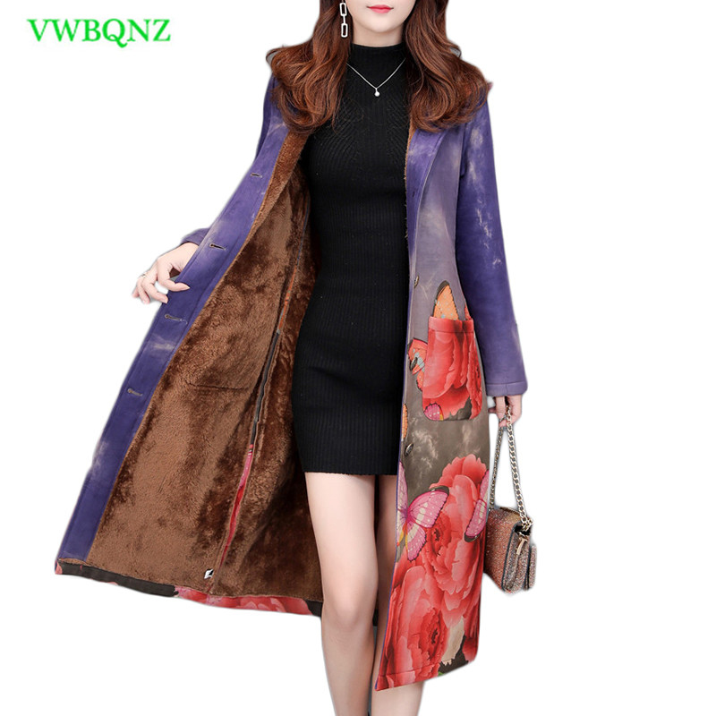 Autumn winter Floral Print Suede Windbreaker Coat Plus size Women Long Trench Coat Female printing Outwear Suede trench 5XL A971