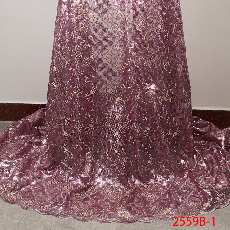 Image 4 - Latest Gold Sequins Lace Fabric 2019 High Quality Nigerian Lace  Fabrics with Sequins African Lace Fabric for Wedding APW2559B 5Lace
