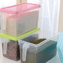 Plastic Miscellaneous Grain Storage Box With Handle Canister Simple Superposition Holder Health Sealed Jars Kitchen Accessories
