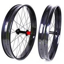 Карбоновые колеса для велосипеда, 26 дюймов, снежный велосипед, 32 отверстия, клинчер, безворсовые диски 80 мм, ширина 25 мм, глубина, высокое качество, заводское предложение