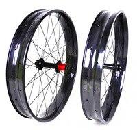 Carbon Fat Bike Wheels 26 Inch Snow Bike 32 Holes Clincher Hookless Rims 80mm Width 25mm Depth Top Quality Factory Offer