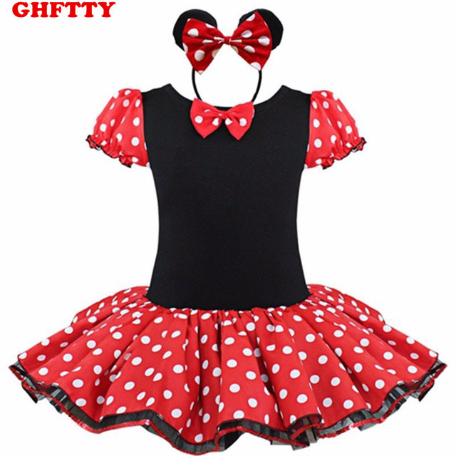 GHFTTY Girls Dresses Minnie Mouse Party Fancy Costume Cosplay Girls Ballet Tutu Dress+Ear Headband Girl Polka Dot Kids Clothing