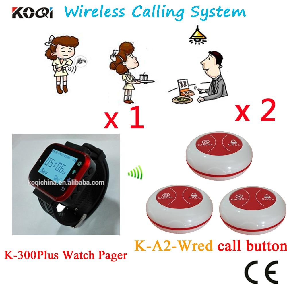 Беспроводная система звонка клиентов, популярная в больничном ресторане, клиент 433,92 МГц (1 часы + 2 кнопки)