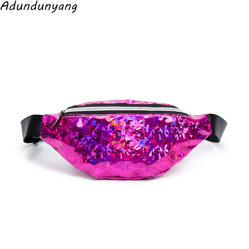 2018 Holographic Fanny Pack Women Laser Bum Bag Travel Beach Shiny Waist Bags Hengreda Raves Hip Bag Fashion Hologram PVC Travel