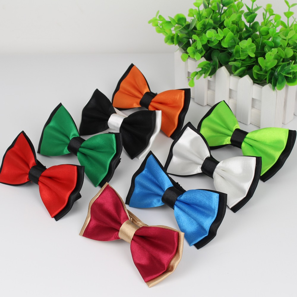 Mens Fashion Tuxedo Classic Tie Adjustable Plain Two Tone Bow Tie Tied Wedding Bow Tie For Evening Party Decoration
