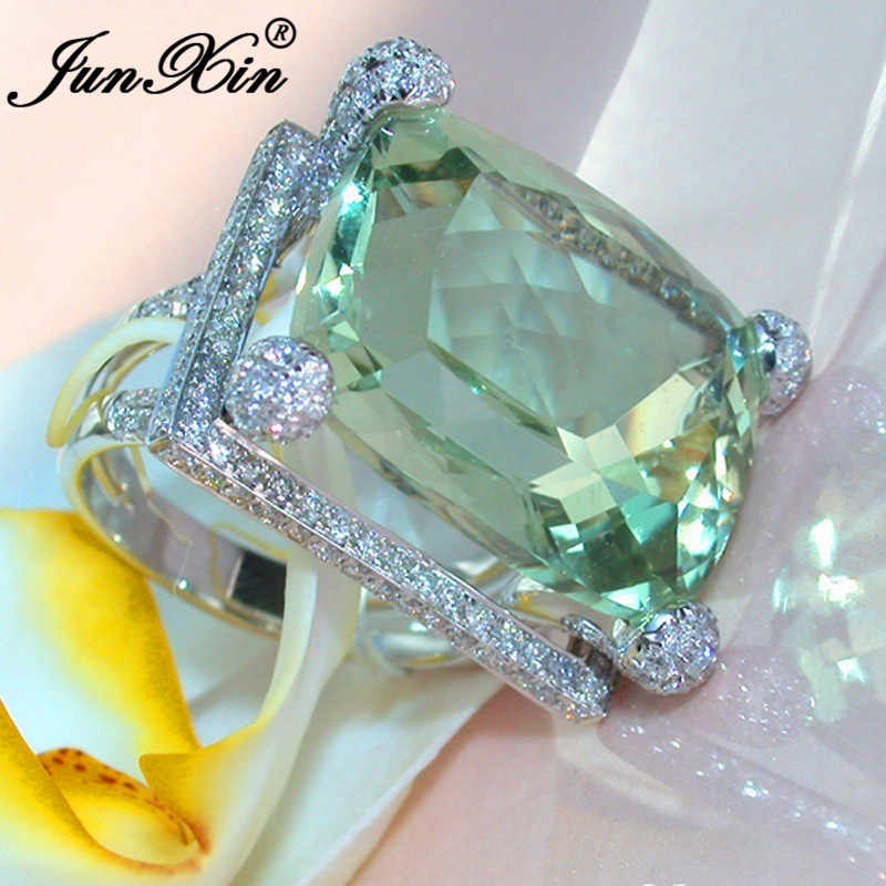 Cute Female Big Green Stone Ring Fashion 925 Silver Filled Zircon Wedding Rings For Women Bridal Love Engagement Ring