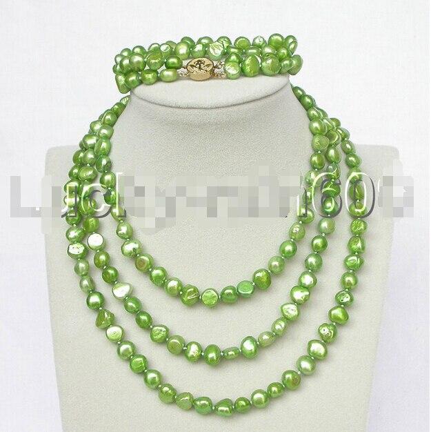 Prett Lovely Womens Wedding  shipping>> stylish 49 8-9mm baroque laurel-green pearls necklace 2row bracelet set e1458Prett Lovely Womens Wedding  shipping>> stylish 49 8-9mm baroque laurel-green pearls necklace 2row bracelet set e1458