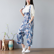 Women Leaves Print Fashion Denim Jumpsuits ladies Loose Preppy Style Overalls pants Female Bleached Jeans Rompers preppy style solid color denim women s overalls
