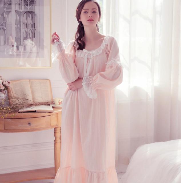 0419e611a03 RenYvtil Long 100% Cotton Princess Nightdress Long White Pijamas Women s  Nightgown Sleepwear Ladies Nightshirt negligee
