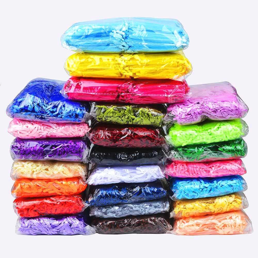 100pcs 24 צבעי תכשיטים 5*7 7*9 9*12 10*15cm חתונה מתנות שקית אורגנזה תכשיטי אריזת תצוגה & תכשיטי שקיות