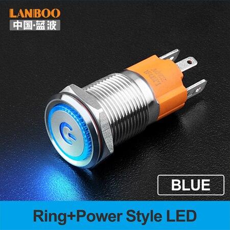 LANBOO производитель 16 мм 12V110V 24V 220V Светодиодный светильник с высоким током 10A мощный фиксатор мгновенный самоблокирующийся кнопочный переключатель - Цвет: Blue  LED Power