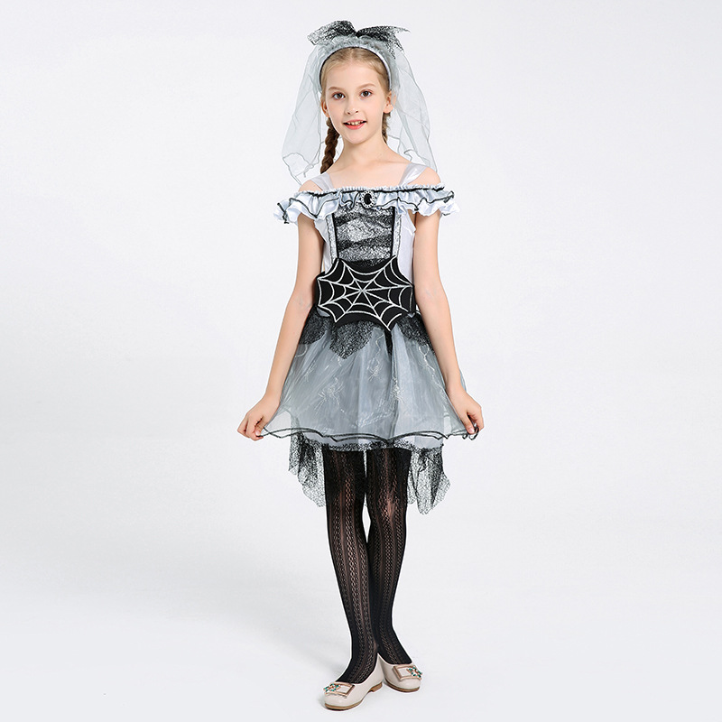 Umorden Halloween Costumes for Girls Gray Spider Bride Costume Cosplay Girl Fancy Carnival Party Dress