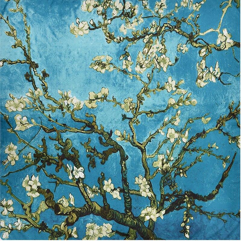 130cm*130cm Bandana 100% Twill Silk Square Satin Scarf Brand Women Flowers Printed Fashion Foulard