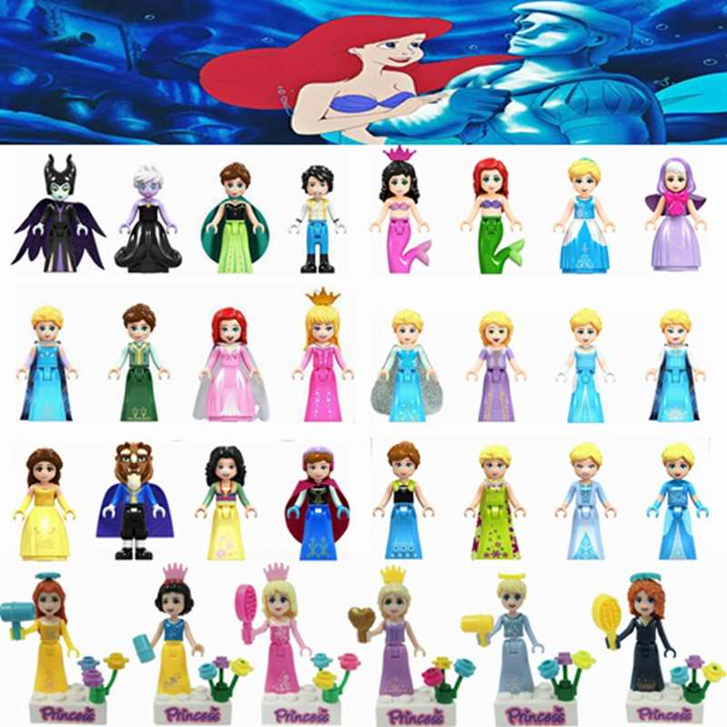 Legoing Friends Princess Girl Figures Cinderella Mermaid Belle Building Blocks Toys For Children Assemble Friends Legoing Block